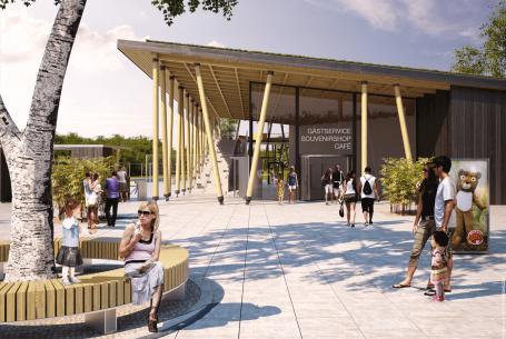 Borås Djurpark, Ny entrébyggnad och gångbro.